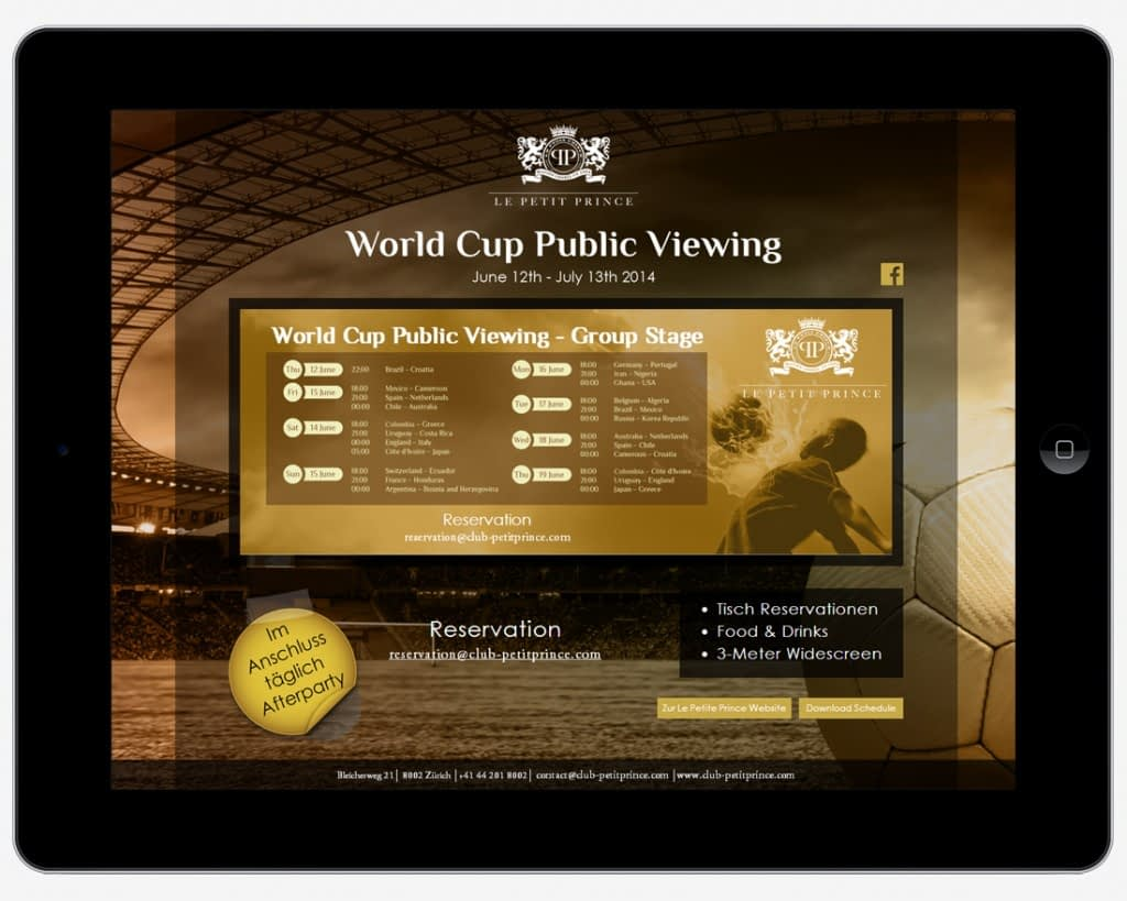Tablet Landing Page - World Cup Public Viewing