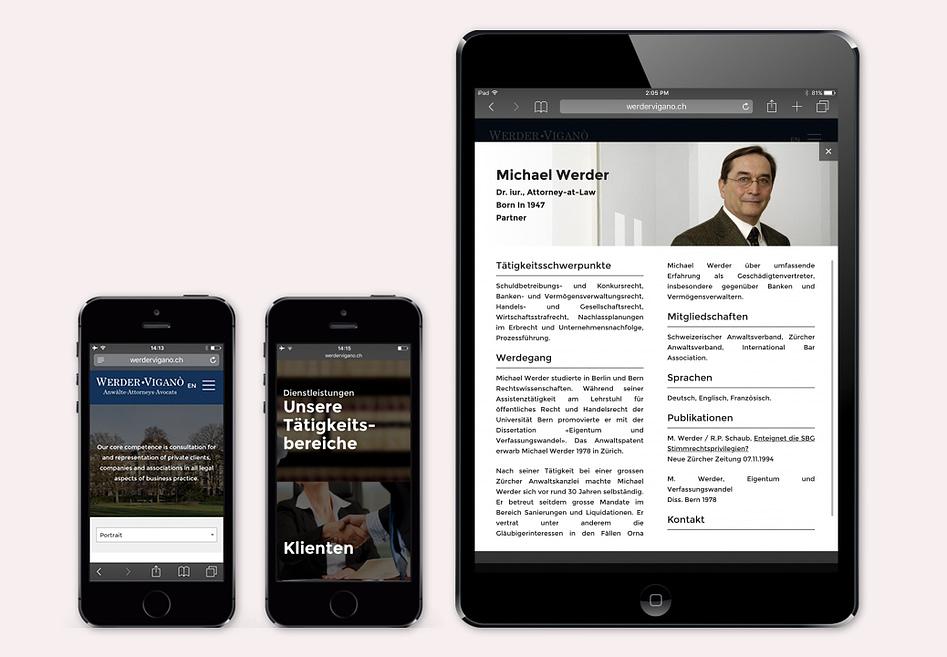 Responsive Website - WerderViganò Anwälte